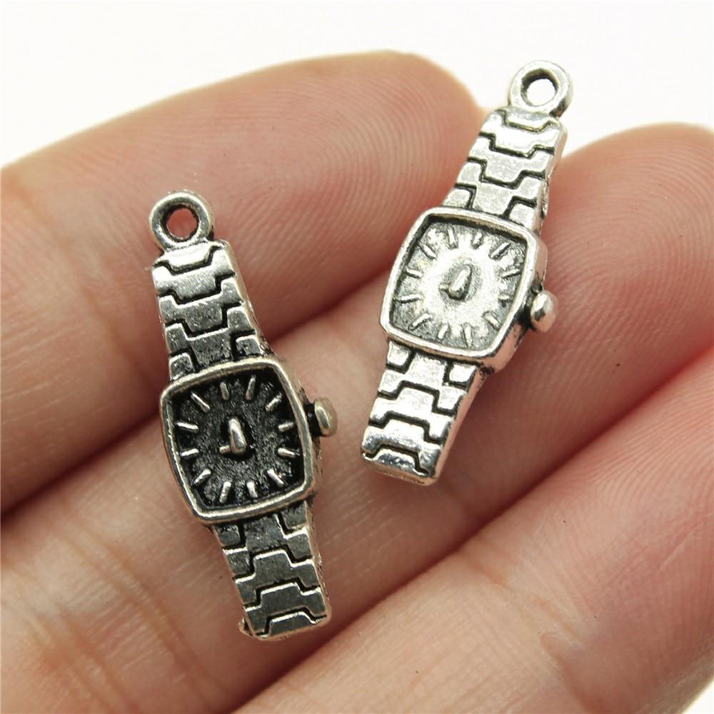 30pcs 23x9mm Pendant Watch Vintage Watch Charm Pendants For Jewelry Making Antique Silver Color Men