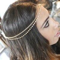 bohemian multilayer hairband headdress women metal tassel chain head rope hair accessories charm jewellery gift