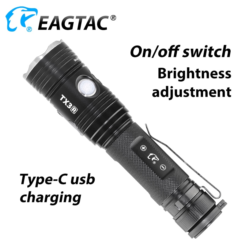 EAGTAC TX3V USB Rechargeable LED Flashlight XHP70.2 3550 Lumen 21700 Included Power Bank Tactical Torch Police Self Defense enlarge