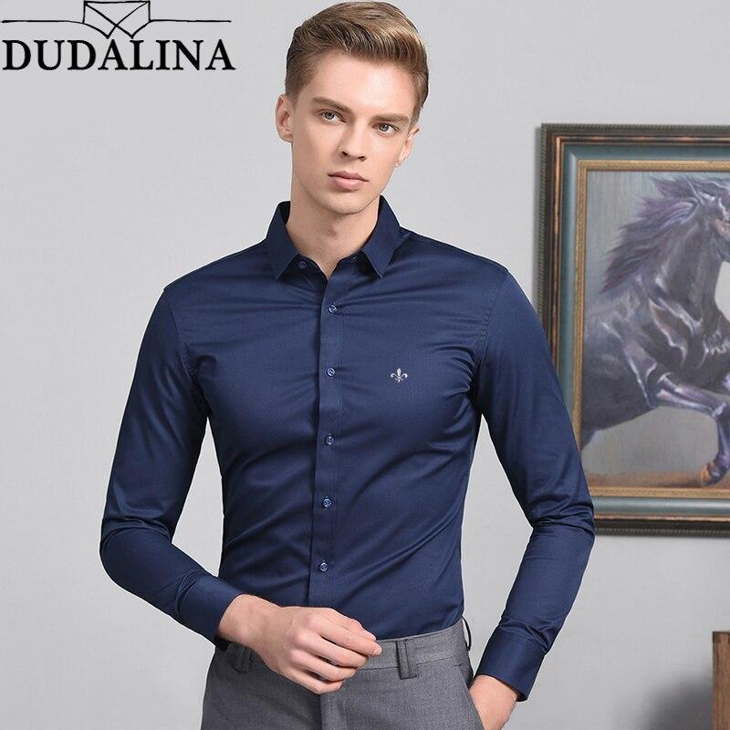 Blusa de moda Dudalina Camisa Social Masculina de manga larga Camisa ajustada para Hombre Ropa Floral de blanco para hombre frío