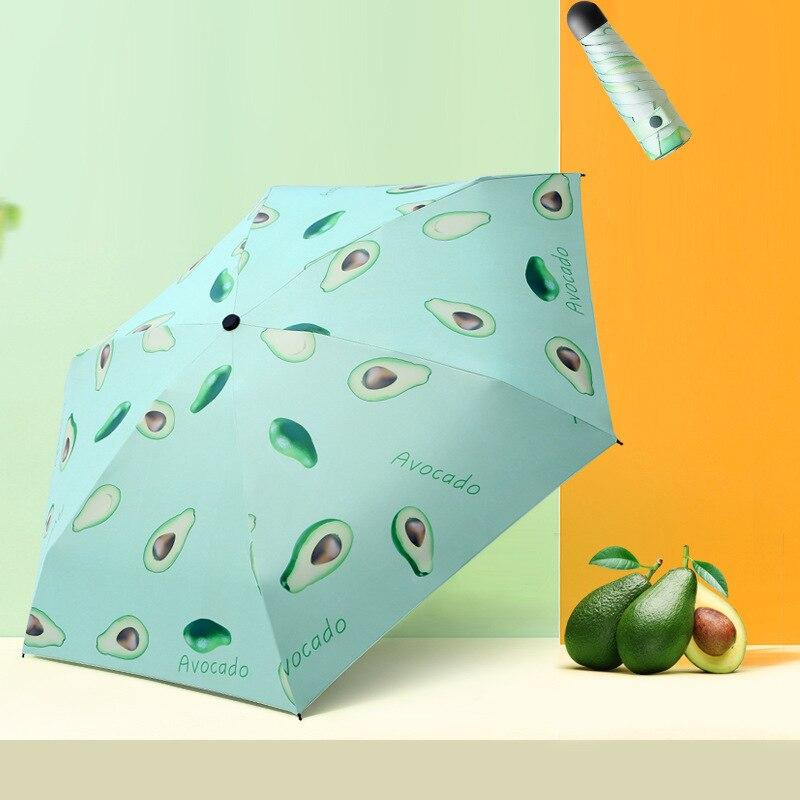 Bonito paraguas de aguacate y limón, Parasol de vinilo con frutas, cápsula para el sol, sombrilla con estuche