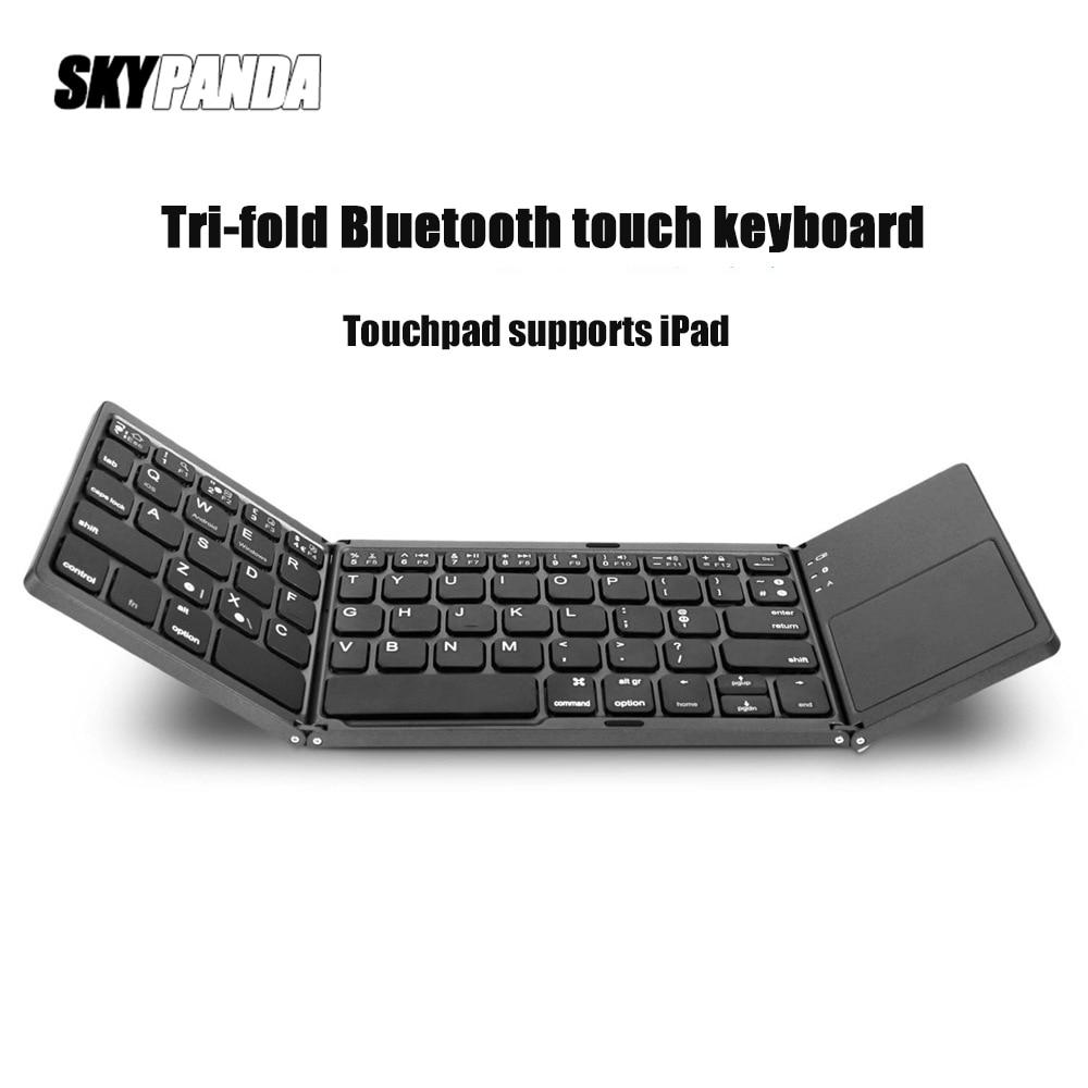 لوحة مفاتيح بلوتوث لاسلكية ثلاثية قابلة للطي ، رفيعة للغاية ، محمولة ، متوافقة مع أنظمة IOS و Android و Windows