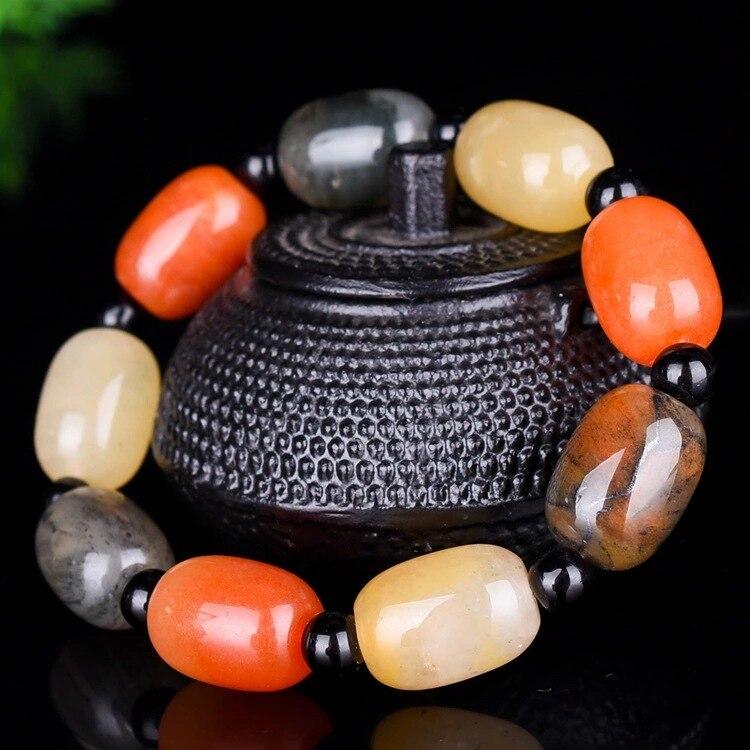 Bracelet de couleur bonbon en Jade doré naturel Xinjiang