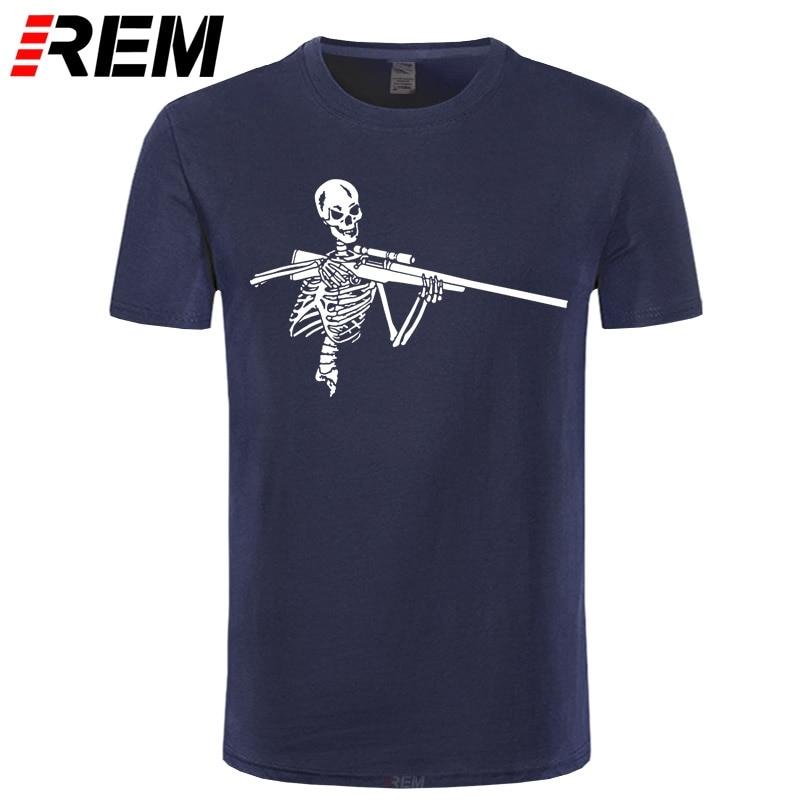 REM camiseta novedosa de Skeleton Hunter Gun Hunt, camiseta a la moda para hombre, geniales camisetas Hipster de algodón de manga corta