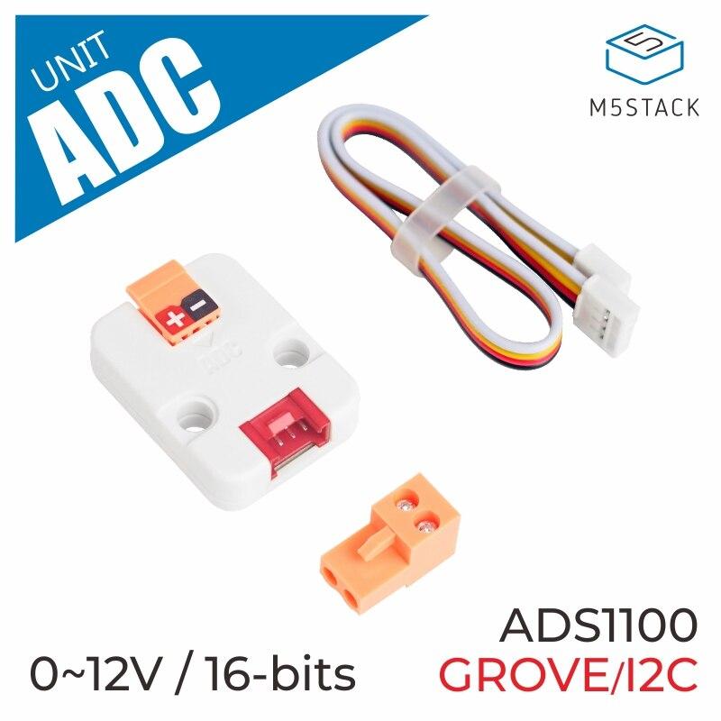 M5Stack официальный блок ADC 16 бит I2C Grow ADS1100 модуль от 0 В до 12 В аналого-цифровой преобразователь макетная плата