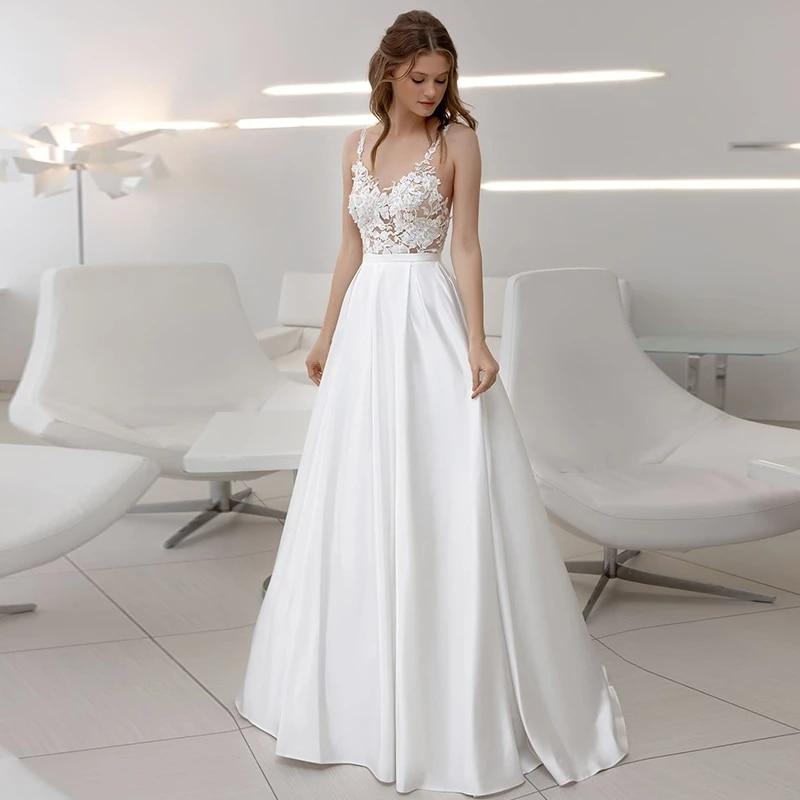 ChuYu 2021 Sexy  Long A-line Wedding Dress Formal Occasion Spaghetti Straps Illusion Appliques Elegant V Neck Vestido De Novia