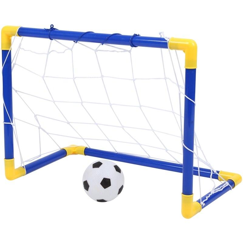 Mini Indoor Dobrar Poste da Baliza de Futebol Bola de Futebol Net Set + Bomba Crianças Esporte Ao Ar Livre Casa de Jogo Brinquedo de Aniversário da Criança presente Plástico