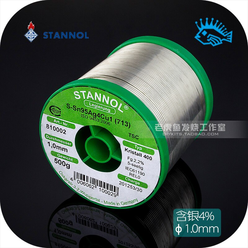 1 meter/5 meter/10 meter Germany STNNOL lead-free silver 4% solder wire 5 core diameter 1.0mm fever audio better than WBT