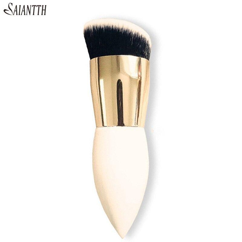 SAIANTTH одиночный пухленький деревянный белый золотой Макияж Кисти Инструменты для красоты кисть для основы конус ручка плотная косая pincel maquiagem