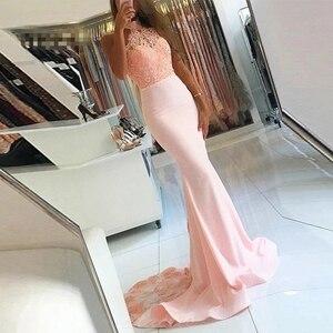 Mermaid / Trumpet Prom Dresses PinkHalter Sweep/Brush Floor length Applique Beading Sleeveless Button Evening Dresses Fashion