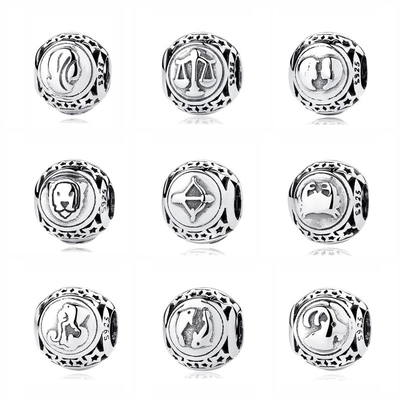 Оригинальные бусины из стерлингового серебра 925 очаровательные весы Leo Star Sign Charms 12 Zodiac Constellation Fit Pandora Браслеты Женские Ювелирные изделия