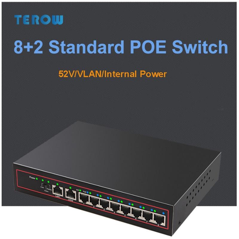 TEROW 10-Port 10/100Mbps POE Network Switch With 8-POE+2LAN Rj45 VLAN/250M/Internal Power Switch  For Haikang/Dahua/TP Camera