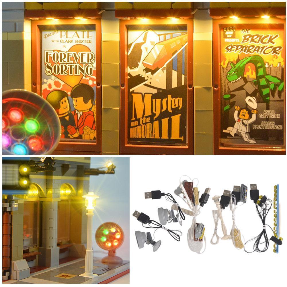 1 مجموعة إضاءة LED متوافق ل ليغو 10232 سينما شارع كتل اكسسوارات عرض الإضاءة بناء أضواء و DIY بها بنفسك مصابيح LED U5Z5