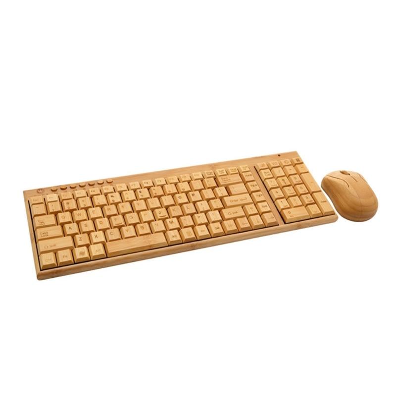 مجموعة ماوس لوحة مفاتيح لاسلكية من الخيزران لأجهزة الكمبيوتر المحمول والمكتب التوصيل والتشغيل USB ، لوحة مفاتيح الفئران الطبيعية هدايا عيد ا...