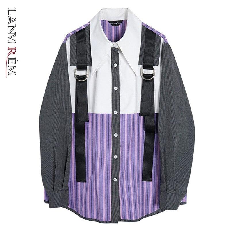 LANMREM قميص الخريف 2021 جديد اللون الأرجواني مخطط كتلة قميص المرأة فضفاضة طويلة الأكمام واحدة الصدر قمة الموضة الإناث 2W647