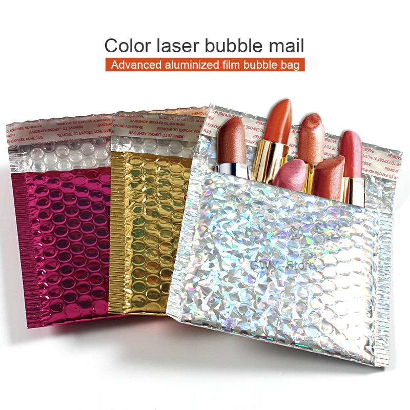 10 unids/lote Multicolor anuncio publicitario de la burbuja de polietileno bolsas de correo sobres de envío con burbuja embalaje de envío envolventes de sobres acolchado