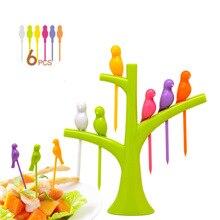 Uds 6 + 1 soporte forma del árbol Tenedor de frutas plástico horquilla para verduras frutas snacks postres tenedores titular para fiesta fruta pick tenedores