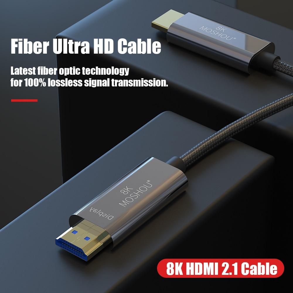 8K Fiber Ultra HD Cable HDMI 2.1 Cable 8K@120Hz Optical Fiber HIFI Audio Cable Ultra-HD (UHD) Video Line 48Gbs Cord HDR 4:4:4