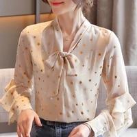 blusas mujer de moda 2021 blouse women long sleeve women blouses shirts ruffles bow v neck chiffon blouse shirt women tops