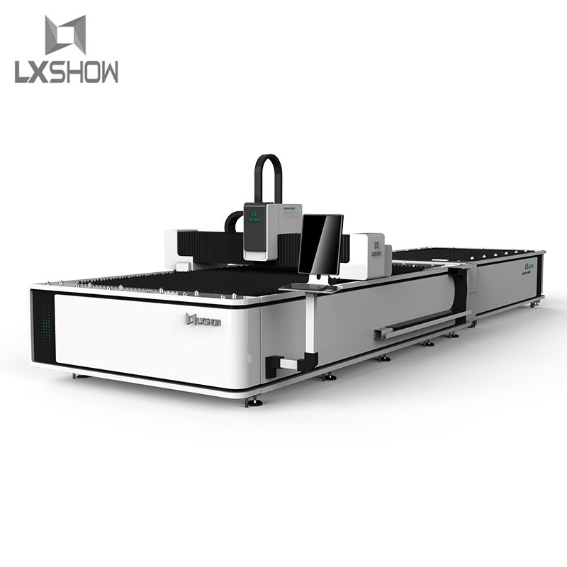 Máquina cortadora láser de fibra cnc de estilo abierto, con mesa de intercambio