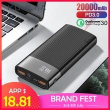KUULAA batterie externe 20000 mAh QC PD 3.0 batterie de charge rapide PowerBank 20000 mAh USB chargeur de batterie externe pour Xiaomi Mi 10 9