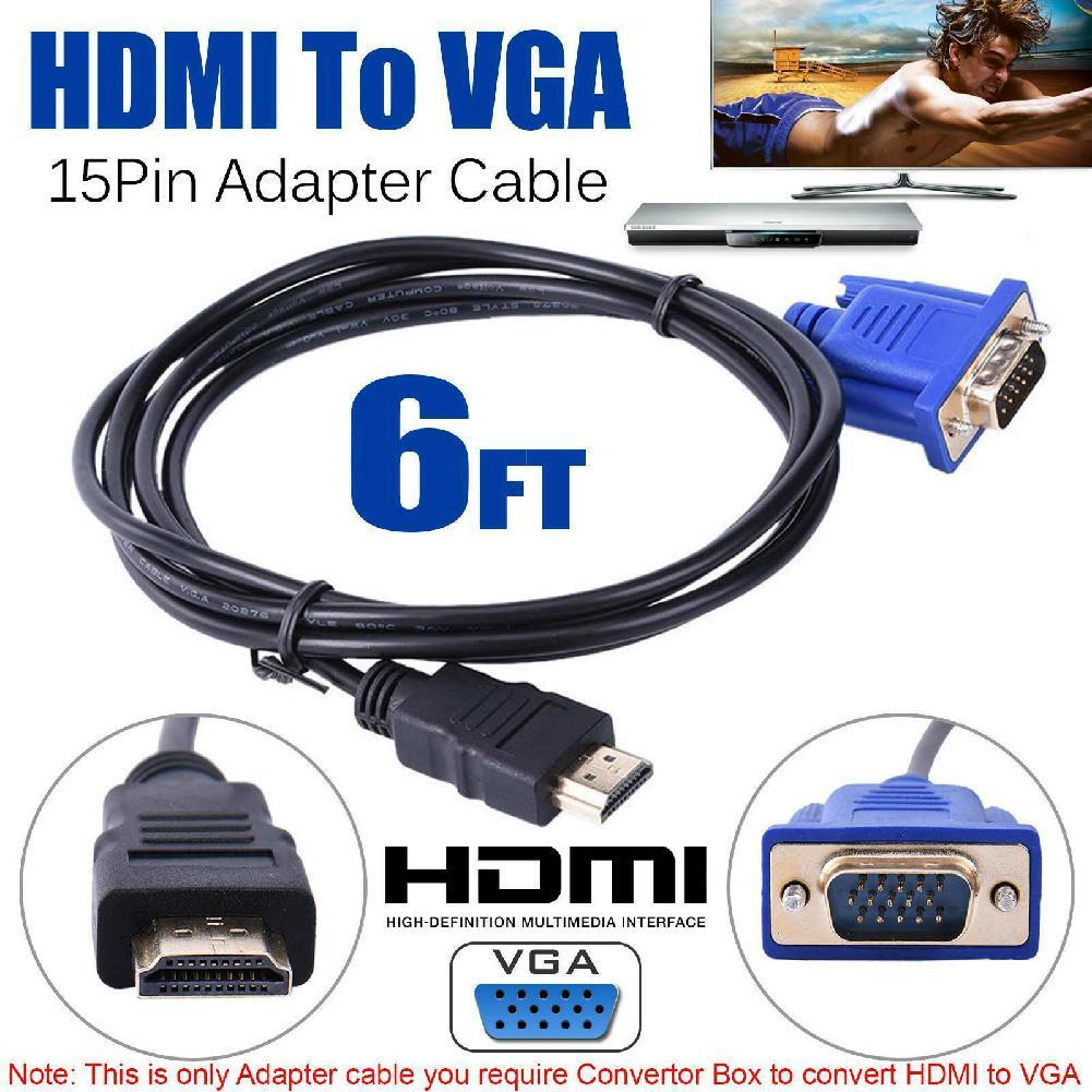 HDMI Zu VGA 1080P Adapter Kabel Premium 6 Ft VGA (HDDB15) auf HDMI Stecker Auf Stecker Anschluss Kabel vergoldete stecker