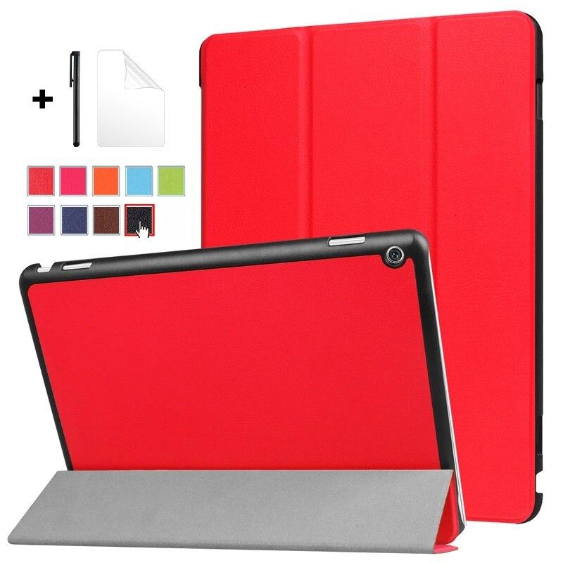 Funda de tableta para Huawei MediaPad M3 Lite 10 10,1 BAH-W09 BAH-AL00, funda de cuero BAH-L09, funda con tres pliegues, funda sólida con película + bolígrafo