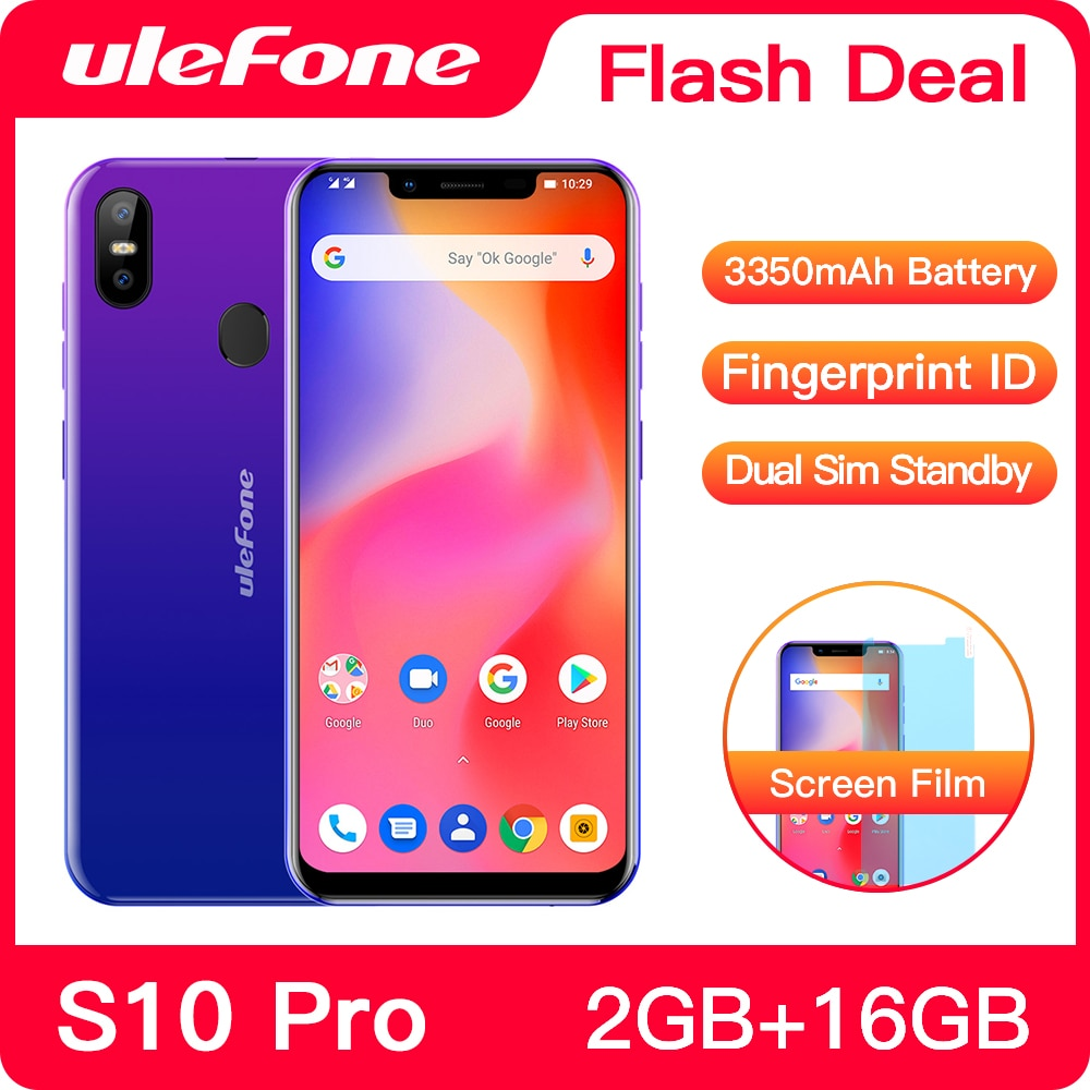 Ulefone s10 pro telefone móvel android 8.1 5.7 polegada mt6739wa quad core 2 gb ram 16 gb rom 16mp + 5mp câmera dupla traseira 4g smartphone