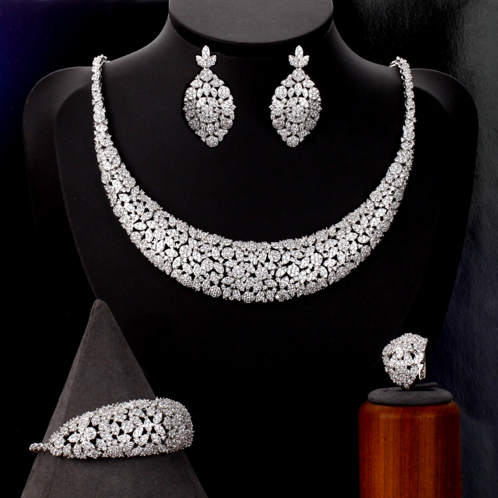 تيريم دبي الفاخرة أنيقة الزفاف قلادة مجموعة للنساء زركون مجوهرات الزفاف مجموعات العرائس اكسسوارات jewelri