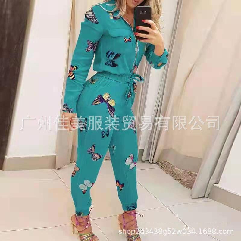 2021 new European and American butterfly print jumpsuit women korean fashion clothing  jumpsuit women  rompers womens jumpsuit 2020 new women s jumpsuit european and american rompers fashion casual solid color plain zip mask jumpsuit