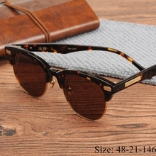 Vintage quality retro semi-rimless UV400 polarized sunglasses John-M imported acetate sunglasses sty