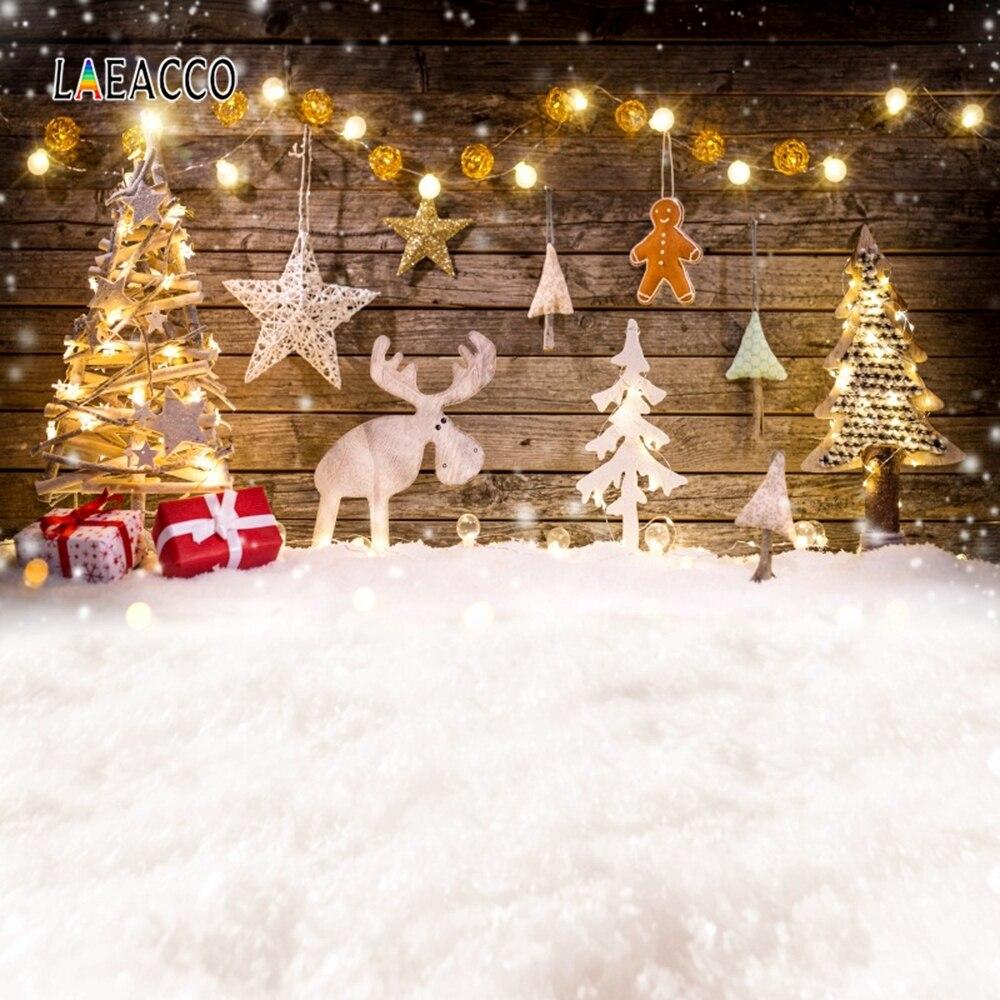 Laeacco חג המולד תפאורות צילום עץ לוח עץ אור מתנות שלג רקע צילום תינוק מסיבת Photophone Photozone