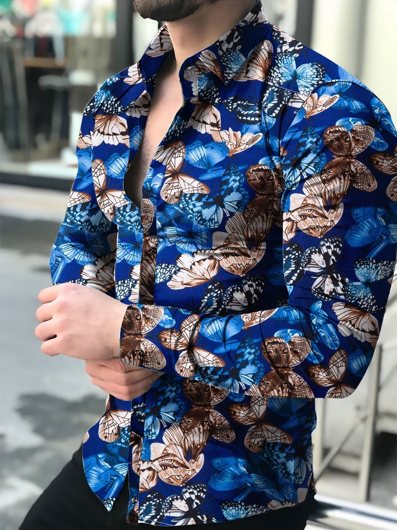 Camisa con estampado de mariposa para hombre, Camisa ajustada, camisa de manga larga para hombre, Top 2021 de de talla e