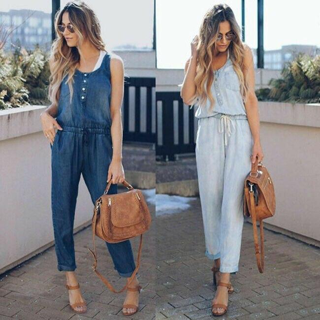 Nova marca feminina verão sólido sem mangas denim macacão calças compridas clubwear macacão calças azul marinho