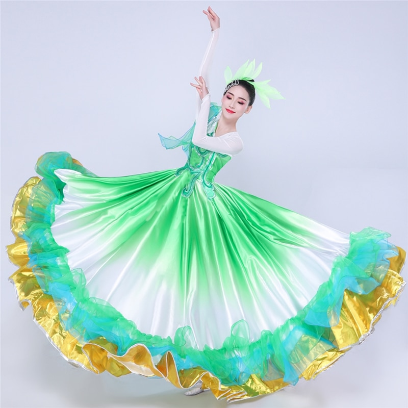 Испанская коррида платье для танцев для Для женщин сценический костюм Цыганское Платье изумрудно-зеленый Танцы длинная юбка для фламенко п...