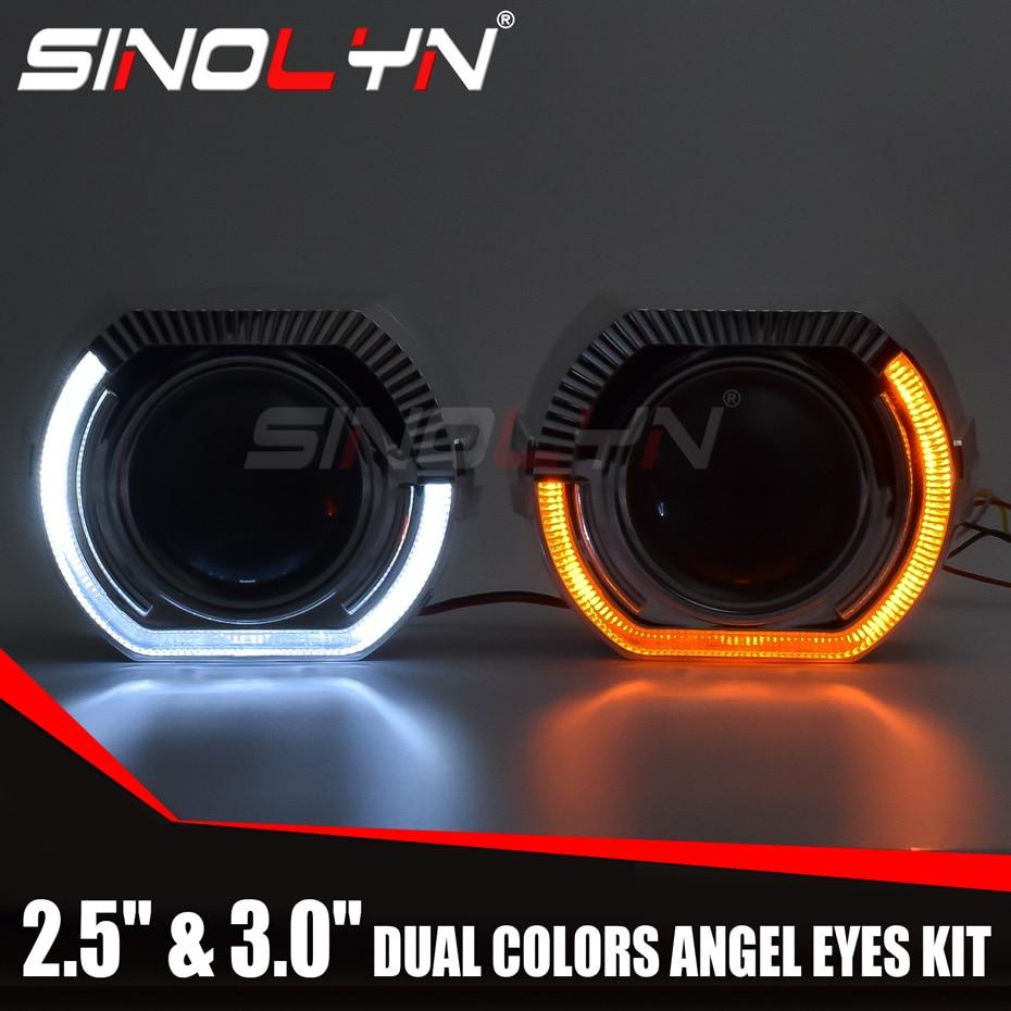 Sinolyn مصابيح LED عيون عدسة إسقاط ثنائية الزينون العلوي العدسات بدوره إشارة DRL تشغيل أضواء للسيارة H4 H7 منتجات السيارات ضبط