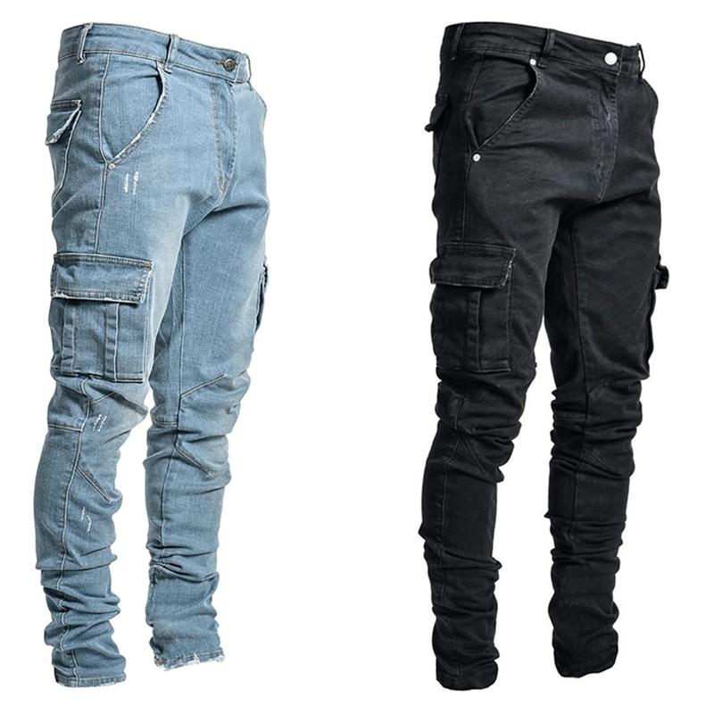 Джинсы мужские брюки повседневные хлопковые джинсовые брюки карго с несколькими карманами Джинсы мужские новые модные джинсовые брюки-Кар...