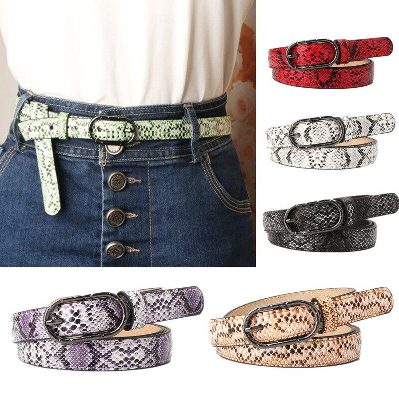 Cinturón de piel para mujer, piel de serpiente, rojo, negro, blanco, 2,5 cm, cinturón con hebilla, cinturón con correa, cinturón para mujer, pantalones vaqueros