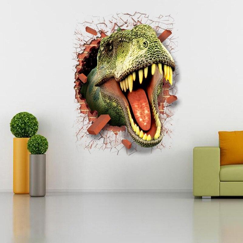 3D vinilo pared dinosaurio extraíble adhesivo decoración del hogar lápiz 3D niños pegatina de dinosaurio Pegatinas 50X70cm