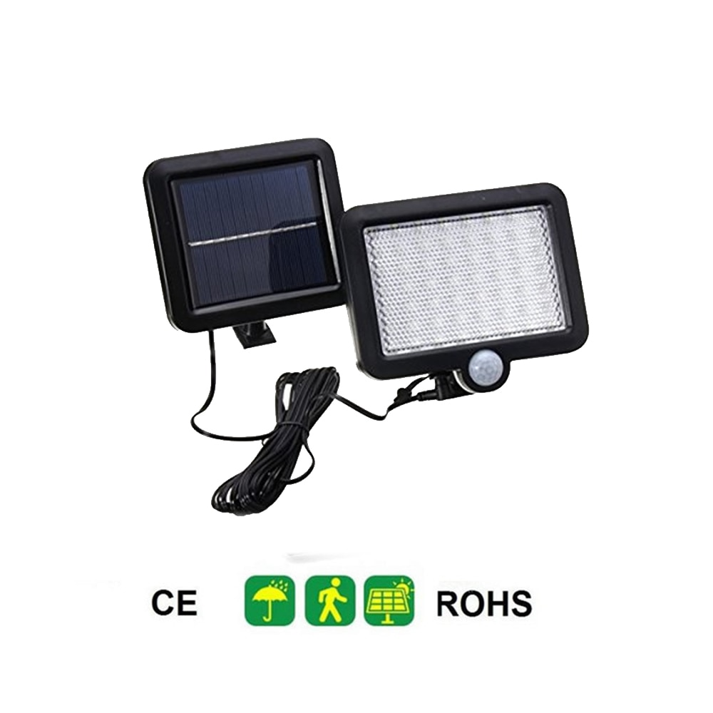 Impermeable 56/30 LED Panel Solar luz PIR Sensor de movimiento lámpara de pared camino al aire libre patio valla de jardín luz nocturna montaje dividido