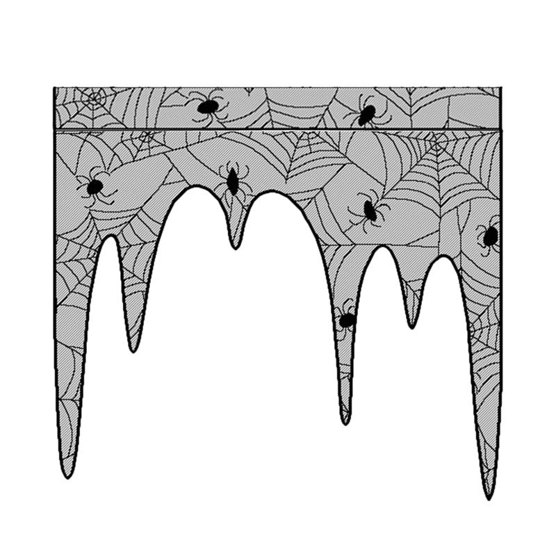 Casita gótica de encaje negro tela cortinas Halloween mantel decoración de Halloween 105Cmx107Cm-ABUX