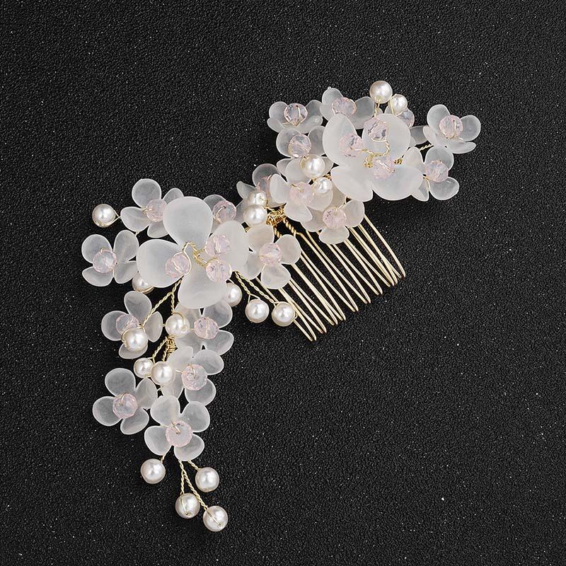 Peineta de flor de aleación hecha a mano ACRDDK, diadema de diamantes de imitación para mujer, Tiara nupcial, accesorios para el pelo de boda SL