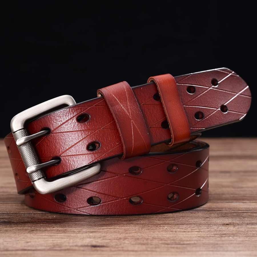 Мужской кожаный ремень с двумя зубцами, классический пояс с двумя рядами отверстий, универсальный Пояс с вырезами для джинсов, мужской пояс