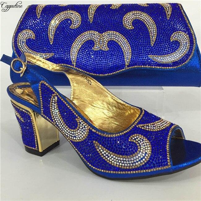 Nuevos zapatos de fiesta azul real con bolso tacones altos africanos bombas y bolso set para boda/fiesta GY16 altura de tacón 6cm