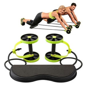 AB Wheels Roller Stretch Elastic Abdominal Resistance Pull Rope Tool Abdominal Muscle Trainer Fitness Equipment Multifunctional