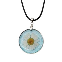new handmade bohemian resin dry flower daisy necklace transparent ball black leather chain round 45cm long 1 piece
