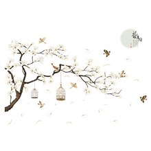 2pcs/pack Art  Flower Beautiful Home Decor Tree Wall Sticker Removable Fairy