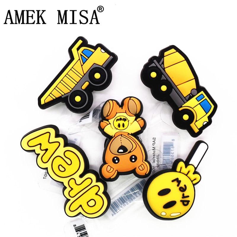 Novely PVC Yellow Truck Shoe Charms Sandals Accessories Cute Bear Lollipop Shoe Decoration for Croc