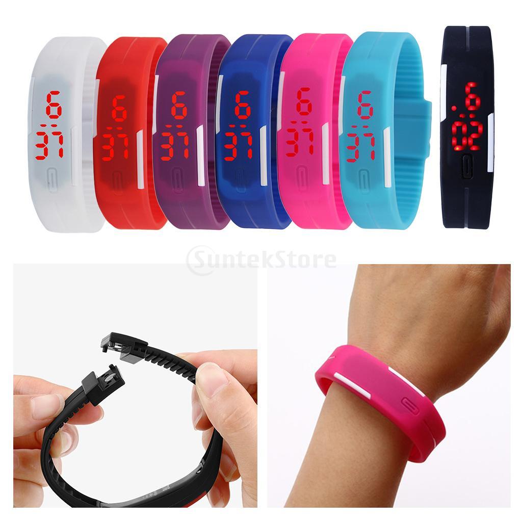 Digital Fashion Adult Kids LED Watches Electronics Sports Silicone Wrist Watch Bracelet Shell Adjust