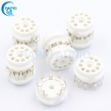 PAPRI 10PCS 9Pin Ceramic B9A Tin Plated Tube Socket DIY PCB Chassis Mount For ECC81 ECC82 ECC83 EL84 5670 EL84 5670 6922 Etc